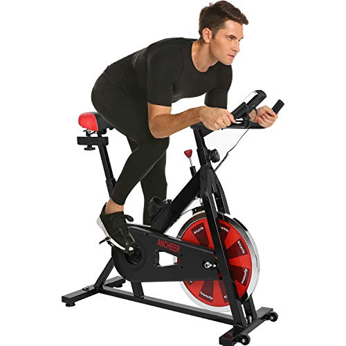 ANCHEER Stationary Bike, 40 LBS Flywheel Belt Drive Indoor Cycling Exercise Bike with Pulse, Elbow Tray (Model: ANCHEER-A5001) (Black_Red)