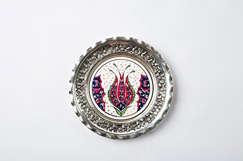 Turkish Handmade Decorative Silver Coated Copper Plate with Ottoman Motifs Decorated Ceramic Tile