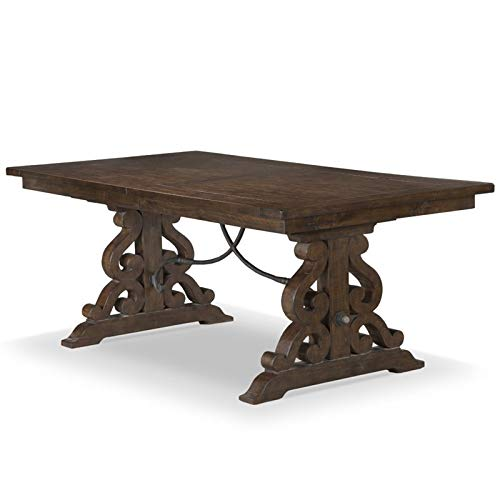 Magnussen St. Claire Extendable Trestle Dining Table in Rustic Pine