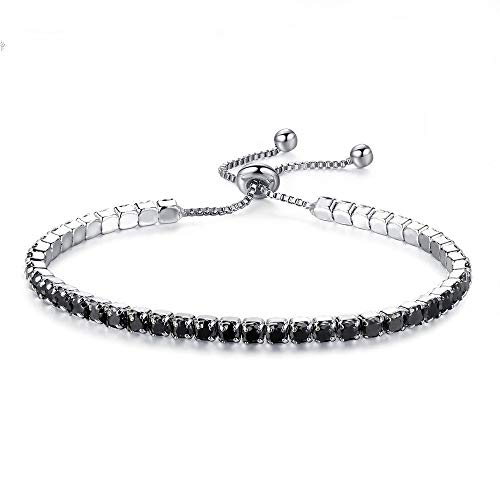 Romanly Nice New Adjustable Tennis Bracelets for Women Cubic Zirconia Silver Color Chain Bangle & Bracelet Wedding Jewelry Best ()