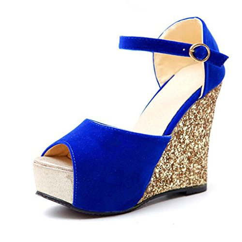 Sandals Summer Scrub Vamp Sequins Slope Fish Mouth Thick Sole High Heels Blue 6rfJgc