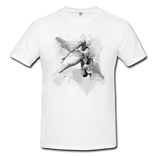 Synchronspringen T-Shirt Herren, weiß mit Aufdruck
