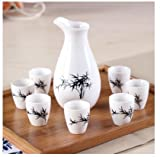 Brand New Ceramic bar set hip flask maotai sub wine liquor cup shot glass small handless winecup wine Bamboo black
