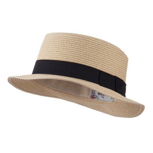 Black Ribbon Hat Band Pork Pie Fedora - Tan OSFM