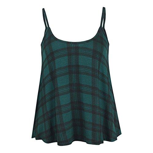 Green Ronde Extensible Haut Rond Sans Tartan Manche Femmes vas Encolure Swing Uni Sans Caraco Lanires Femme Grande Lanires Taille Fin Manche a0n1nwHq
