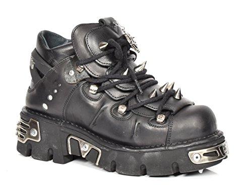 New Rock Leder Knöchel Stiefel Schnürsenkel Metallisch Metallisch Metallisch Plattform Schuhe Spitze Entwurf Schwarz 0c2bf9