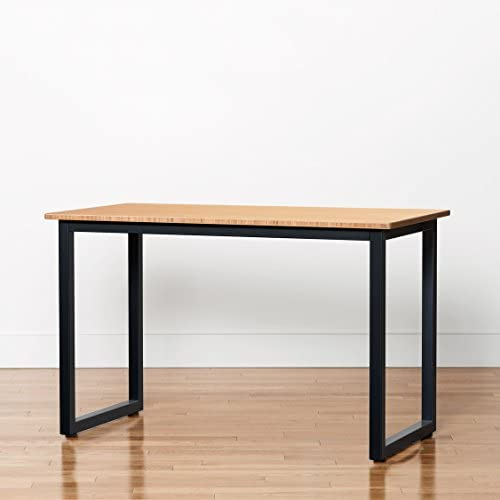 Bamboo Side Table – 48 x 24 Computer or Printer Table Small Kitchen Table with Steel Frame with Rolling Casters, Black
