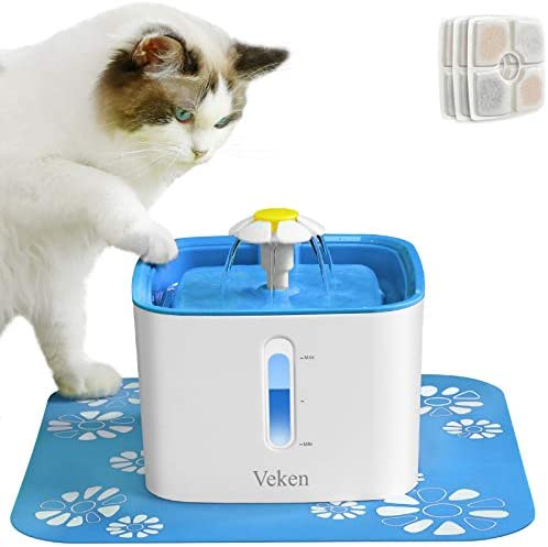 Veken Cat Water Fountain, 84oz Automatic Pet Water Fountain Dog Water Dispenser with 3 Replacement Filters & 1 Silicone Mat for Cats and Small to Medium Dogs