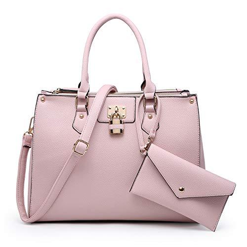 (Dasein Women Fashion Handbags Tote Purses Shoulder Bags Top Handle Satchel Purse Set 2pcs Pink )