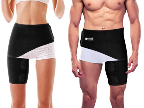 Copper Compression Groin Thigh Sleeve Hip Support Wrap. Adjustable Neoprene Brace Hamstring, Quad, Pulled Muscle, Lower Back, Sciatica Nerve, Hip Flexor, Strain, Arthritis Unisex (One Size Fits All)