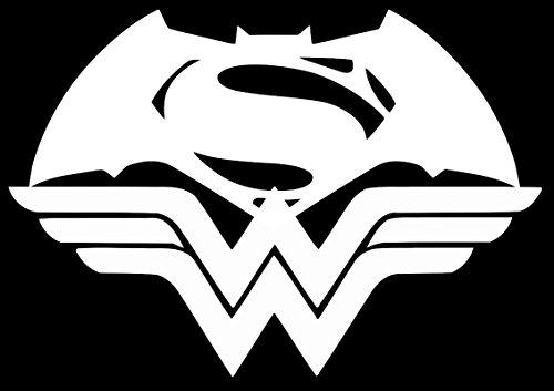 (UR Impressions Batman Superman Wonder Woman Unite Decal Vinyl Sticker Graphics for Cars Trucks SUV Vans Walls Windows Laptop White 5.5 X 4.5 inch URI352)