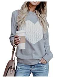 BBYES Womens Crewneck Long Sleeve Knit Sweater Pullover Top Heart Pattern