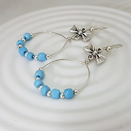 Sterling Silver Turquoise Color Beaded Hoop Earrings with Ribbon, for Women and Girls
