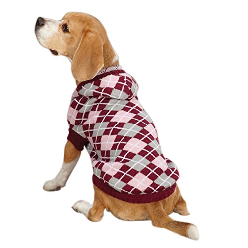 East Side Collection Acrylic Hooded Argyle Dog Sweater, Small Medium, 14-Inch, Raspberry