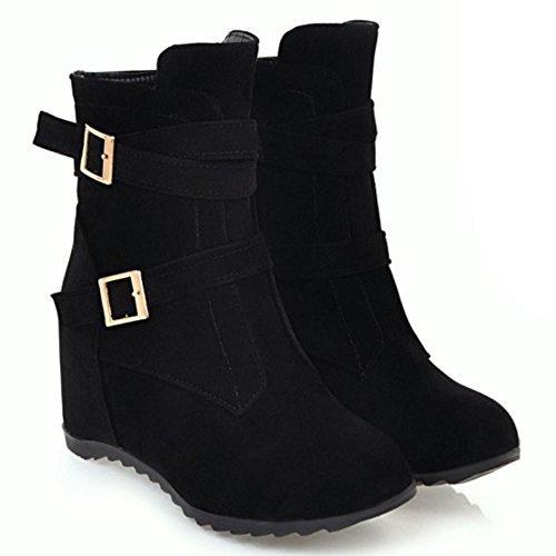 Black Zipper Size Wedge Women RAZAMAZA Boots qOBzCXxnw