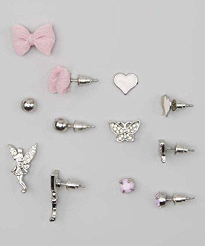 - Lux Accessories Kids, Girls & Women's Pink & Silvertone Fairy & Bow Stud Earring Set