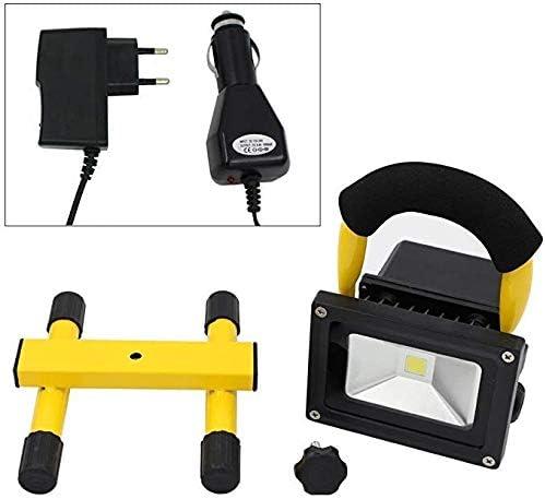 lumi/ère dinondation /étanche IP65 Lumi/ères de secours rechargeables de projecteur portatif jaune 10W lumi/ère dinondation /à DEL blanc chaud chargeur de voiture adaptateur