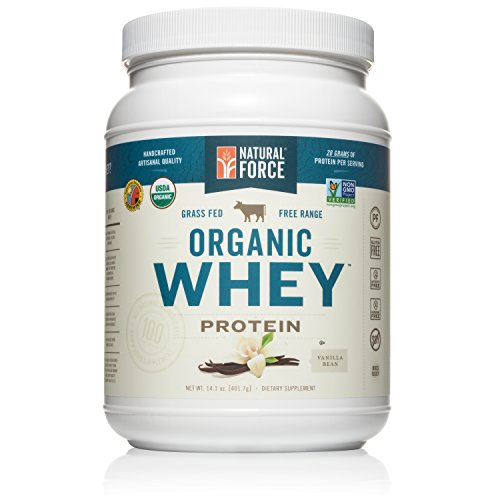 Natural Force® Organic Whey Protein Powder *RANKED #1 BEST TASTING* Grass Fed Whey – Undenatured Whey Protein – Raw Organic Whey, Paleo, Gluten Free Natural Whey Protein, Vanilla Bean, 14.1 oz. (Organic Grass Fed Whey Protein)