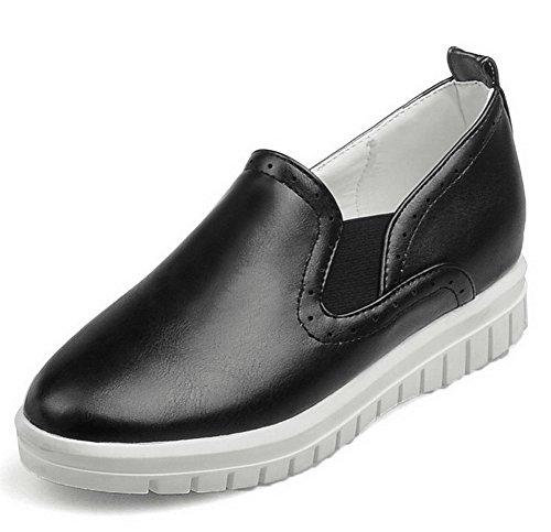 AalarDom Femme Matière Mélangee à Talon Bas Rond Tire Chaussures Légeres Noir 2BxfMNN3