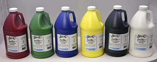 Body Acrylic Paint, 1/2 Gallon, Assorted Colors, Set of 6 - 439307 ()