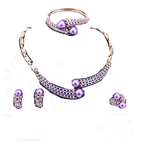 - WANG Fashion Simulated Pearl Necklace Earrings Bangle Ring Crystal Wedding Bridal Jewelry Sets (Purple)