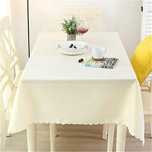 wrgfhb Simple Modern Garden Tablecloth Restaurant Table Solid Color Coffee Table Tablecloth Thick Waterproof Rectangular Tablecloth Creamy-White Round 280 cm
