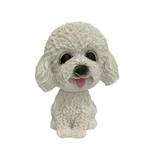 Iuhan Bobble Head Toy, Animal Swinging Animated Bobble Dancer Toy Car Decor Nodding Resin Puppy Dog (E)