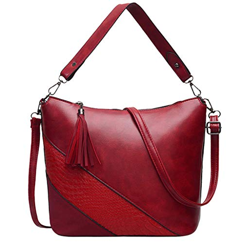 Tassel Patchwork Handbags, Women Tote Crossbody Bag Satchel Shoulder Bags (Red)
