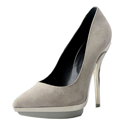 Versace Leather Pumps (Versace Women's Gray Suede Leather High Heel Pumps Shoes US 9 IT 40)