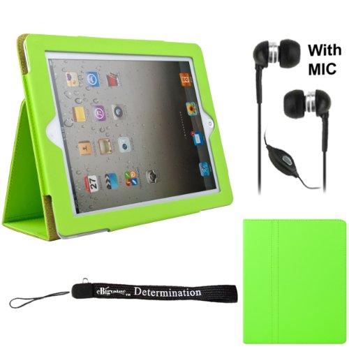 Deluxe Green Smart Faux Leather Kickstand Portfolio Padfolio Stand Alone Cover Case For Apple iPad 3 + Handsfree Earphones