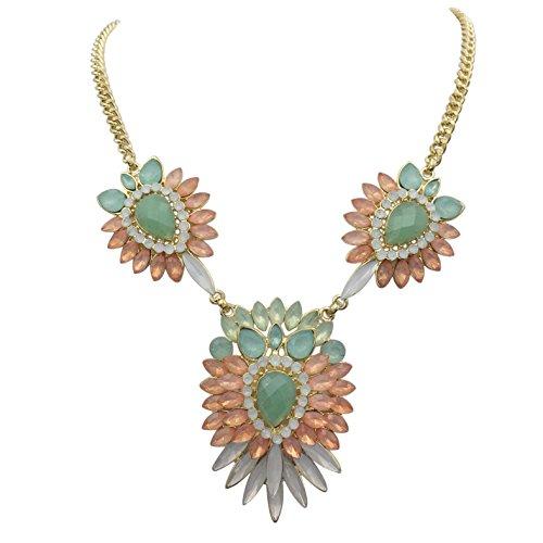 Unique Cluster Statement Boutique Style Necklace (Multi Color Burst)