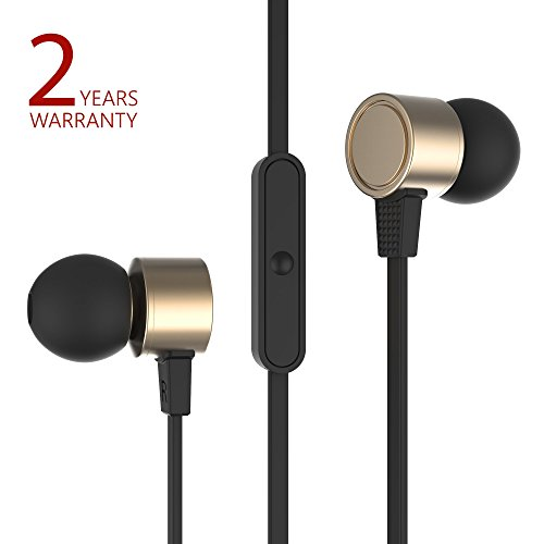 Aluminum In Ear Earphones - Metal Wired Earbuds with microphone and remote control by Probass - Aluminum In Ear Headphones Earbuds with remote and Mic for iPhone, Android - Gold Earbuds (Stereo Ear buds)