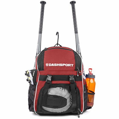 DashSport Baseball Bag Softball Backpack Bat Bag for Youth and Adults | Kids T-Ball Equipment and Softball Bag | Gear for Girls and Boys | Youth Bat Pack (Red)