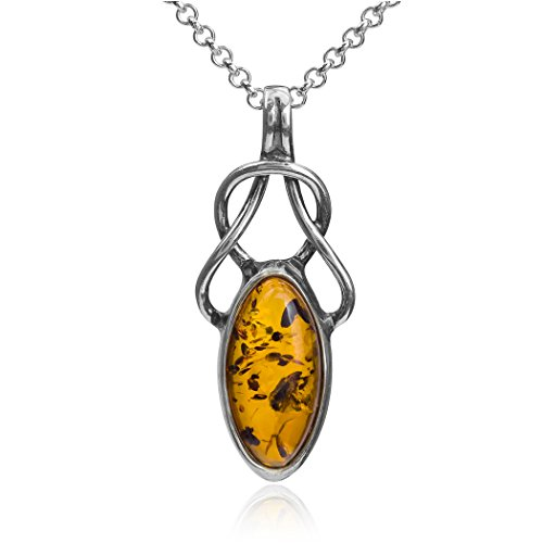 Ian and Valeri Co. Light Amber Sterling Silver Celtic Pendant Necklace Chain 18