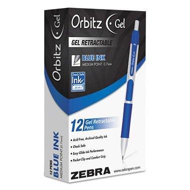 - Zebra - Orbitz Retractable Gel Pen Blue Ink, Medium - Dozen