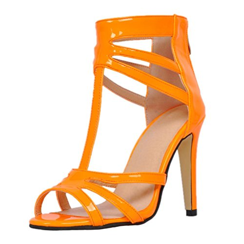 YCMDM Women's Stiletto Heel Sandals orange red leather high quality Nightclub Party Evening Office Career Fashion Shoes , 34 , orange red