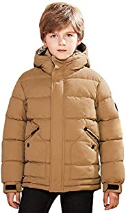 SOLOCOTE Boy Hooded Waterproof Padded Puffer Jacket Thick Winter Coat