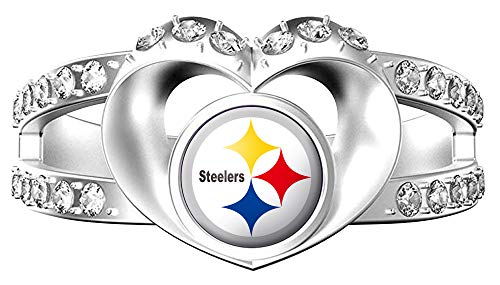 MT-Sports NFL Heart Shaped Lady Ring Lady Exquisite Heart Shaped Ring (Pittsburgh Steelers, 7) ()