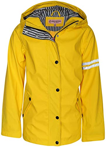 Urban Republic Girls Vinyl Jacket Raincoat with Hood, Soft Yellow, Size 10/12'