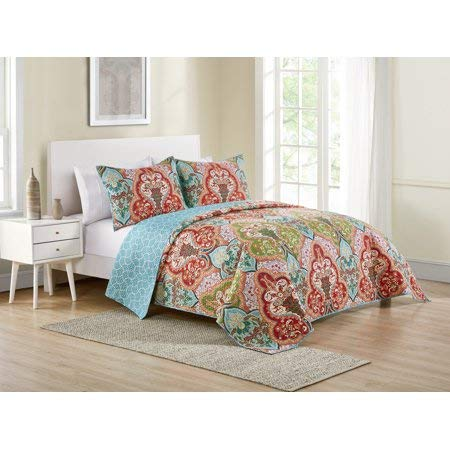 Better Homes & Gardens Jeweled Damask Bedding Quilt Collection (King, Multicolor) from Better Homes & Gardens