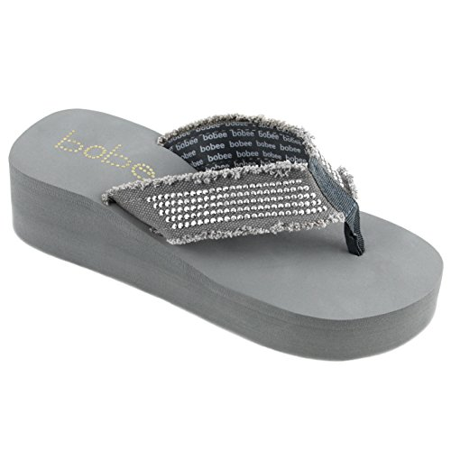 (Women's Fashion Platform Wedge Thong Flip Flops Sandals (10, Gray))