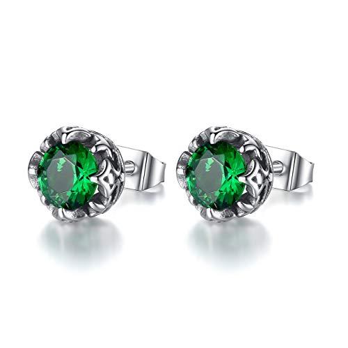 - REVEMCN Jewelry Silver Tone Stainless Steel Vintage Stud Earrings for Men Women, Various Styles (Green CZ)