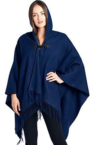 Mariyaab Women's 100% Lambswool Hooded Cape Wrap Poncho Shawl (915491, Peacoat)