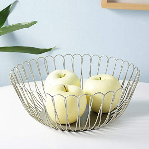 FanDuo Metal Wire Fruit Basket - Kitchen Countertop Fruit Bowl Vegetable Holder Decorative Stand for Bread, Snacks, Households Items Storage (Silver)