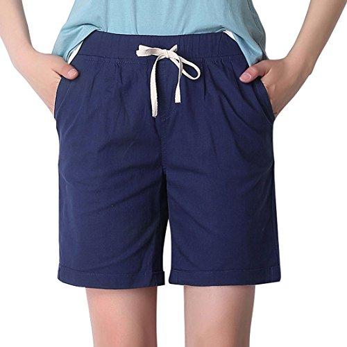 Chartou Women's Modest Loose Elastic-Waisted Bermuda Drawstring Casual Shorts (X-Large, Dark Blue)