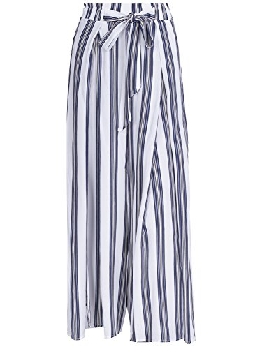 Slim Stripe Pant (BerryGo Women's Boho High Waist Split Stripe Wide Leg Pants,M)
