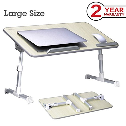Avantree Adjustable Laptop Bed Table, Portable Standing Desk, Foldable Sofa Breakfast Tray, Notebook Stand Reading Holder for Couch (Honeydew) - Minitable L (On Tray A Breakfast)