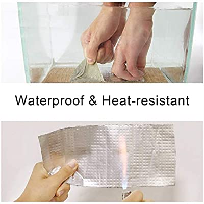 3.9 Inch x 16 Feet Super Waterproof Tape UV Resistant VOC-Free for Pipe RV Awning Sail Roof Window Sealing Outdoor Leak Repair Aluminum Butyl Tape Permanent Leak Proof All Weather Patch