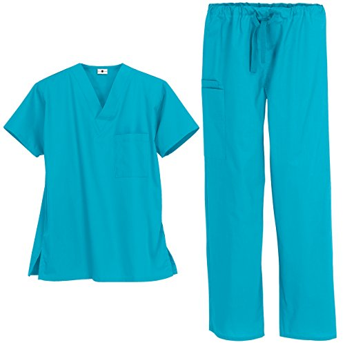Strictly Scrubs Unisex Medical Uniform Set (Small, Turquoise)