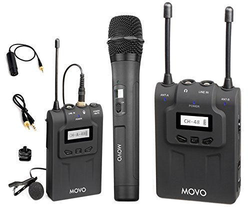 Movo WMIC80 UHF Wireless Handheld + Lavalier Microphone System with Handheld Mic with Integrated Transmitter, Lavalier Mic with Bodypack Transmitter, & Portable Receiver for DSLR Cameras (330' Range) by Movo
